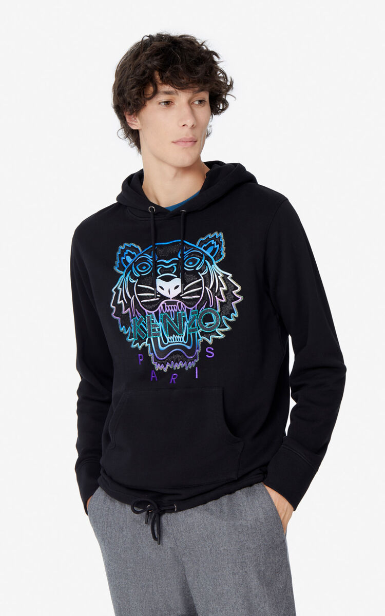 BLACK Hooded Tiger sweatshirt for men KENZO