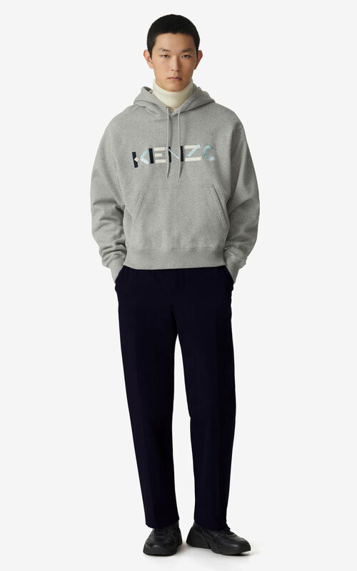 PEARL GREY KENZO Logo hooded sweatshirt for men