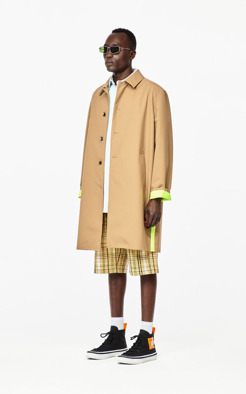 DARK BEIGE Two-tone trench coat for men KENZO