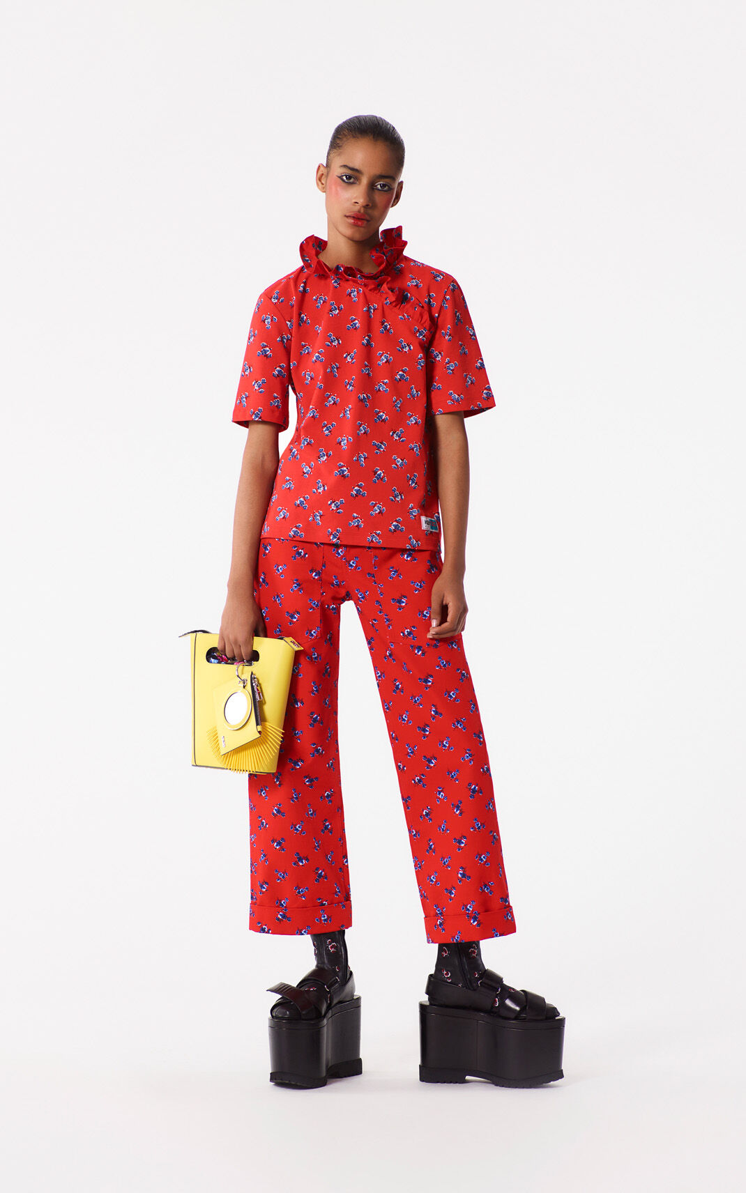 MEDIUM RED Wide-leg May Flowers pants for women KENZO