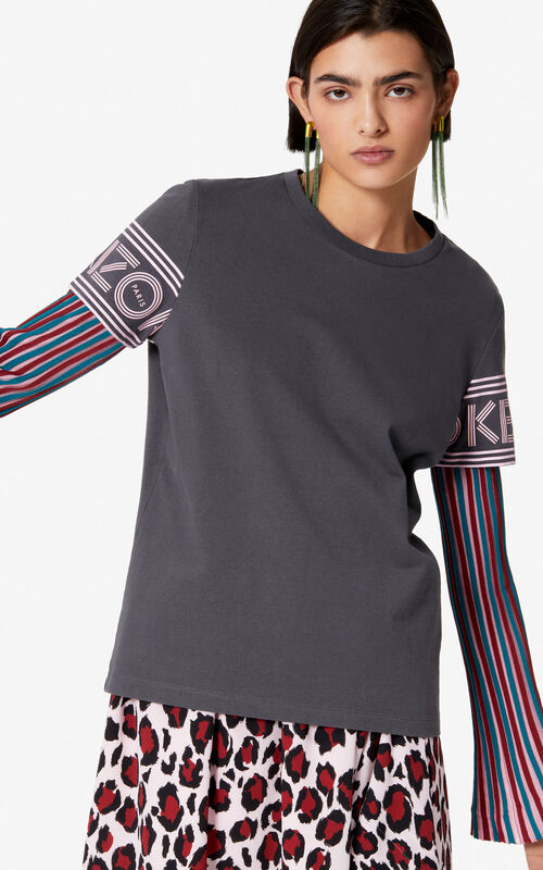 ANTHRACITE KENZO Logo t-shirt for women