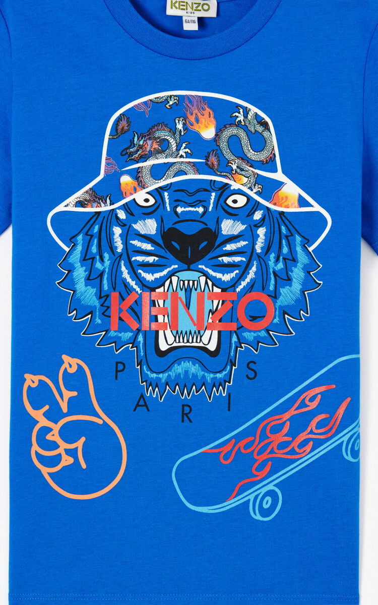 ROYAL BLUE 'Cali Party' Tiger T-shirt. for men KENZO