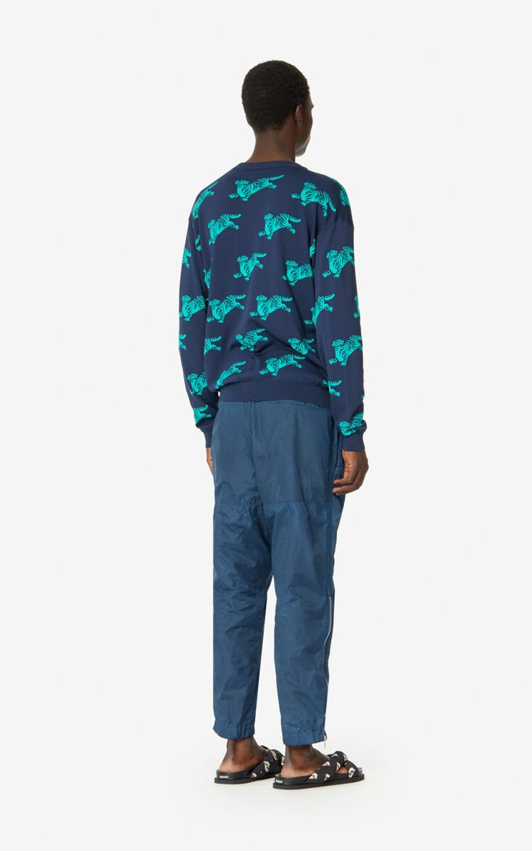 MIDNIGHT BLUE 'Jumping Tiger' jumper for men KENZO