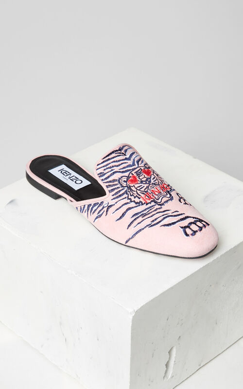FLAMINGO PINK Custer 'Crawling Tiger' mules for women KENZO