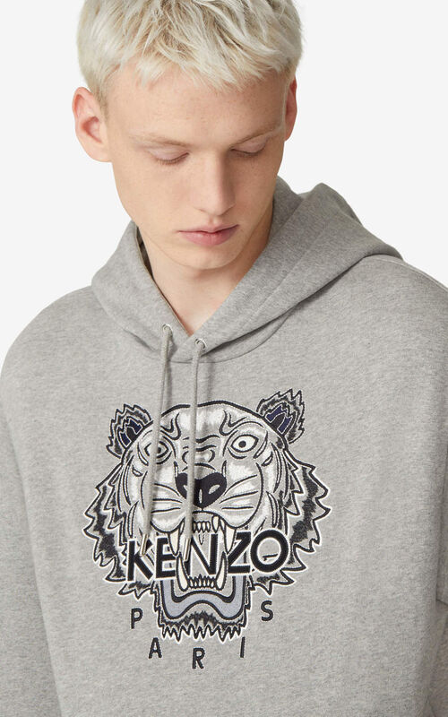 PEARL GREY Tiger hoodie for men KENZO