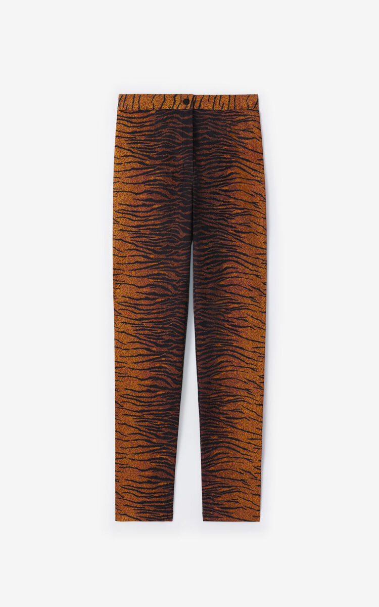 PALE KHAKI 'KENZO Tiger' slim-fit trousers for women