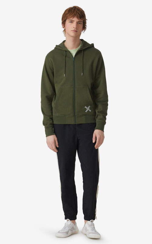 DARK KHAKI KENZO Sport 'Little X' zipped hoodie sweatshirt for men