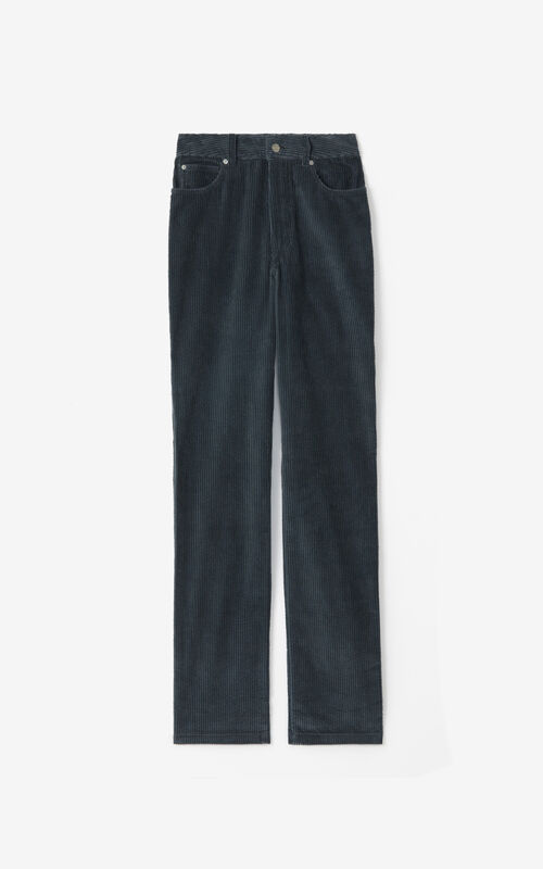 STONE GREY High-waisted straight-cut trousers for unisex KENZO