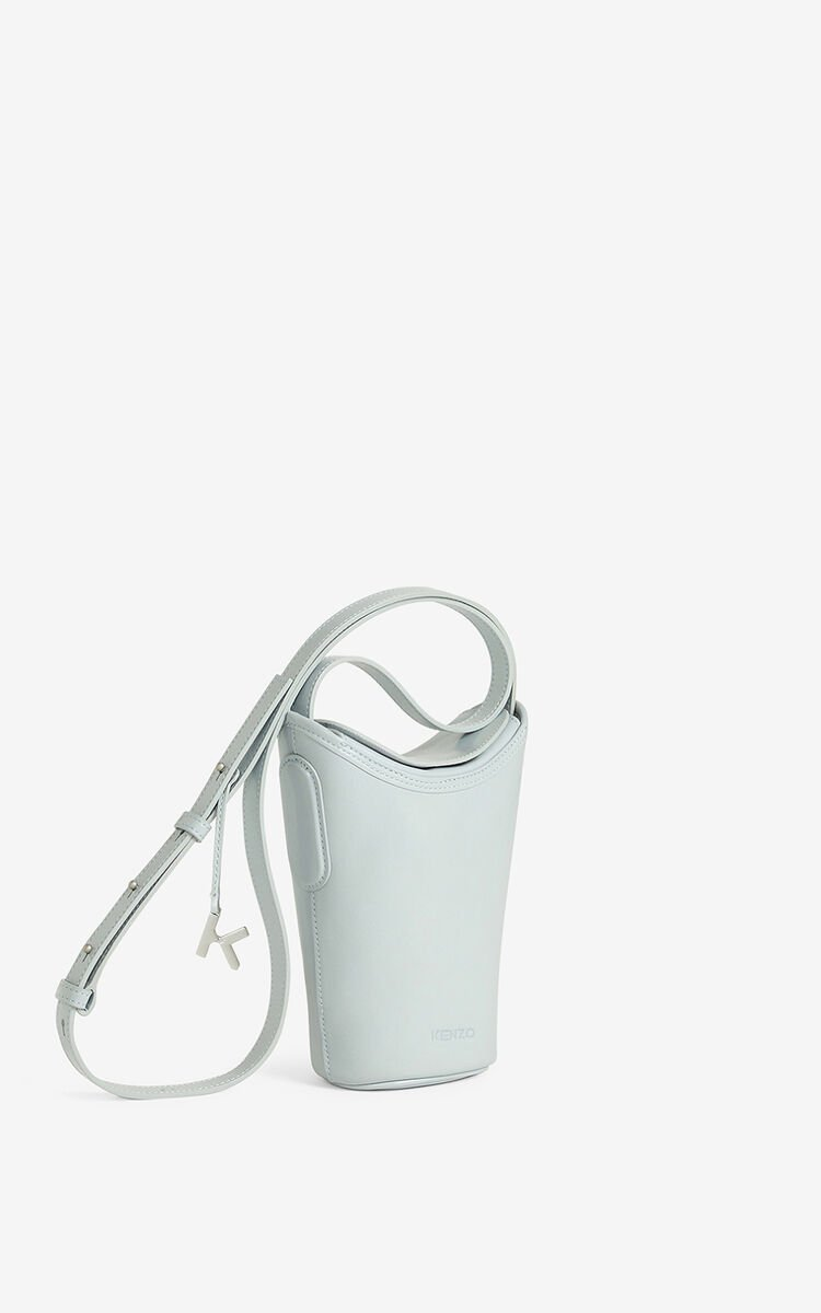 PALE GREY Small KENZO Onda leather bucket bag for unisex