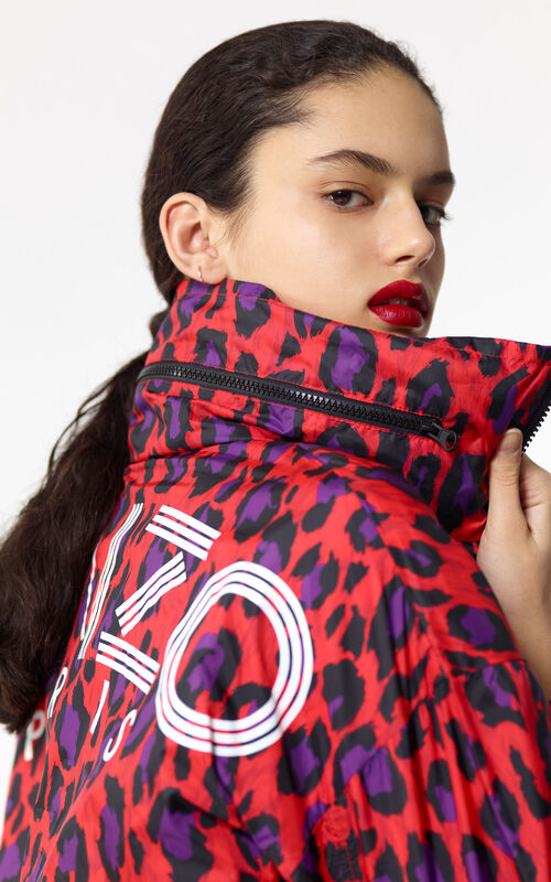 MEDIUM RED KENZO logo windcheater for women