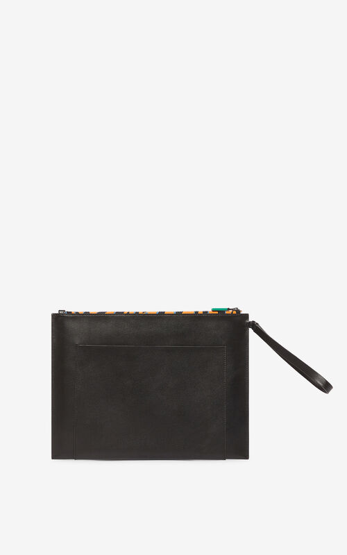 BLACK 'Tiny Tiger' A4 clutch for unisex KENZO
