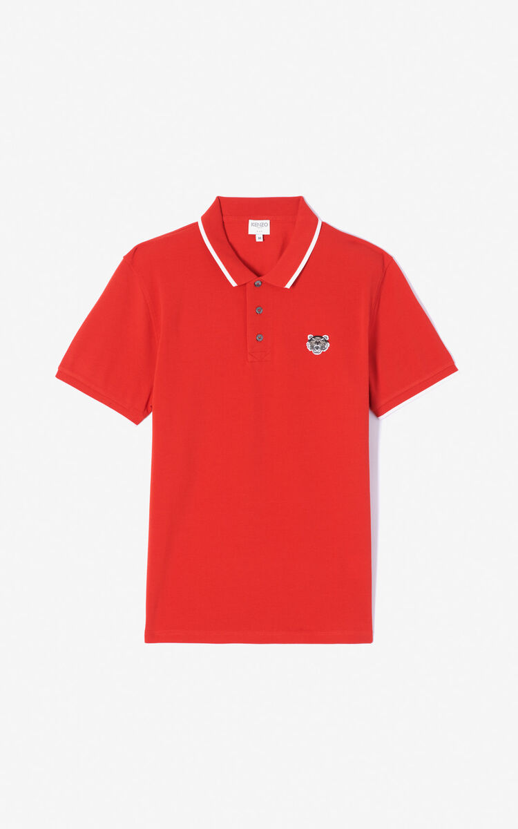 MEDIUM RED Fitted Tiger polo shirt for men KENZO