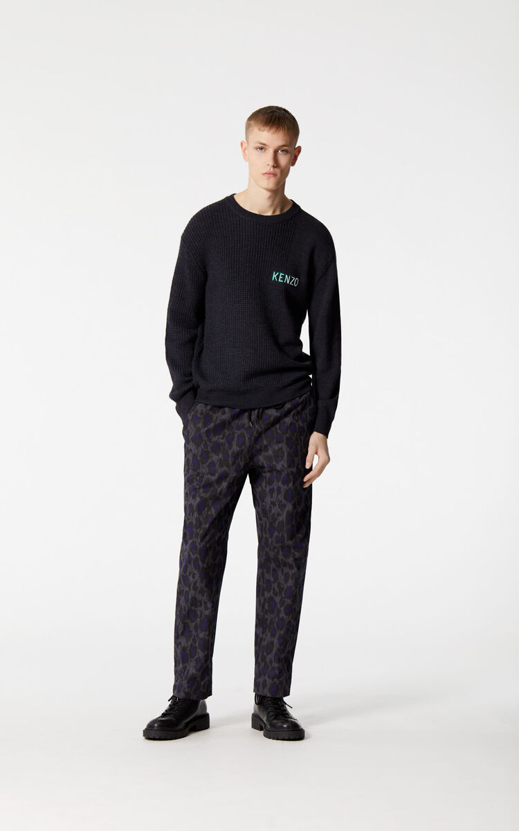 ANTHRACITE 'Leopard' straight trousers for men KENZO