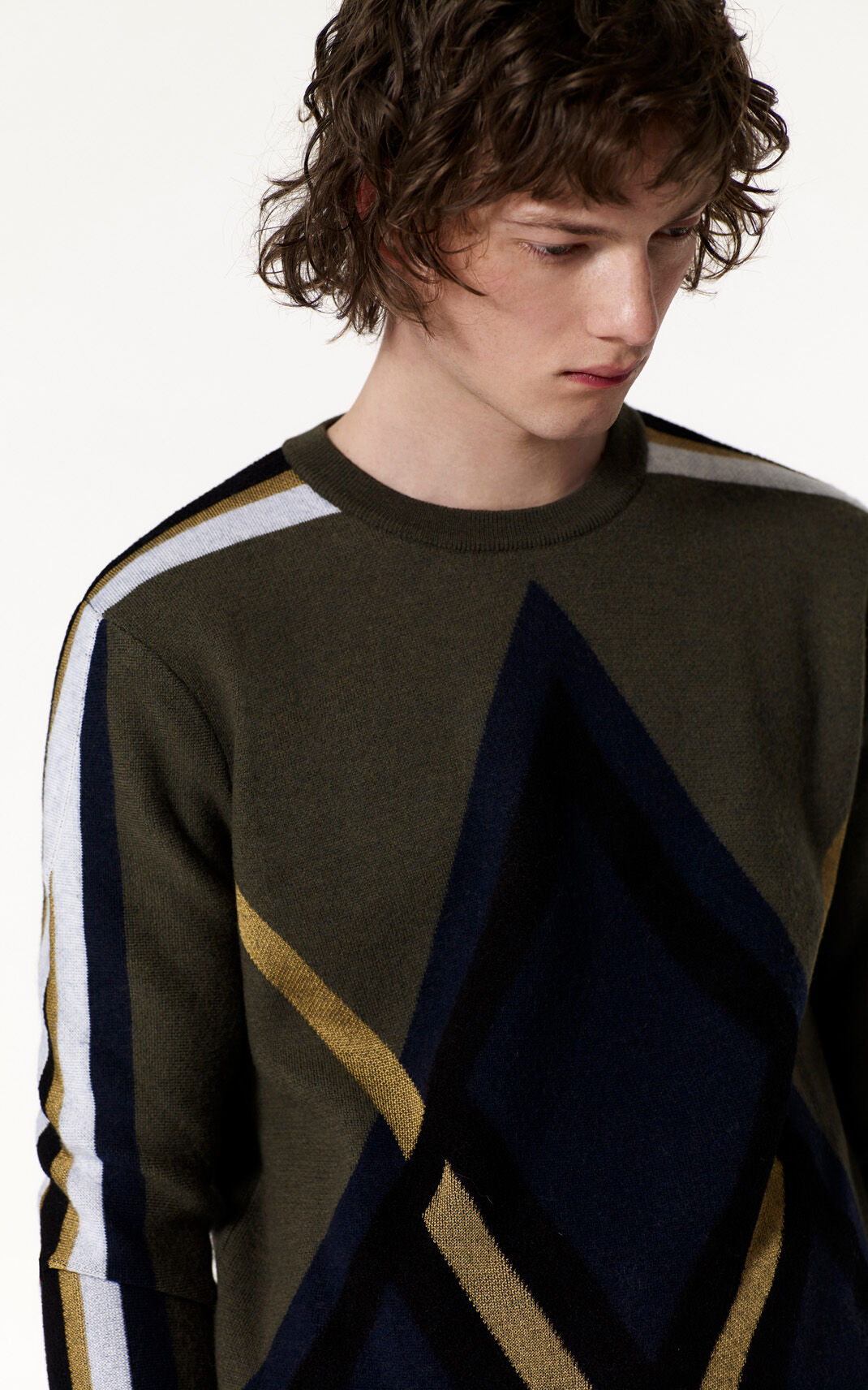 DARK KHAKI 'Argyle' wool sweater for men KENZO