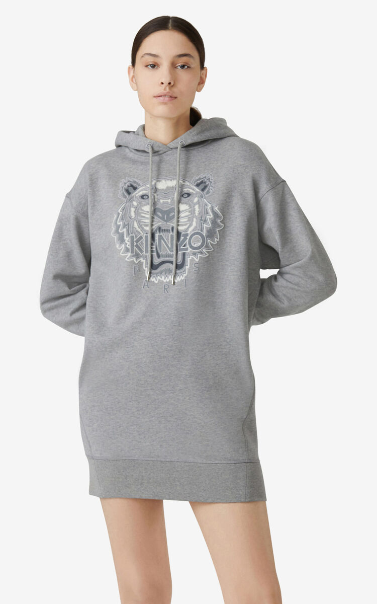 PEARL GREY Tiger Flock hooded sweatshirt dress for women KENZO