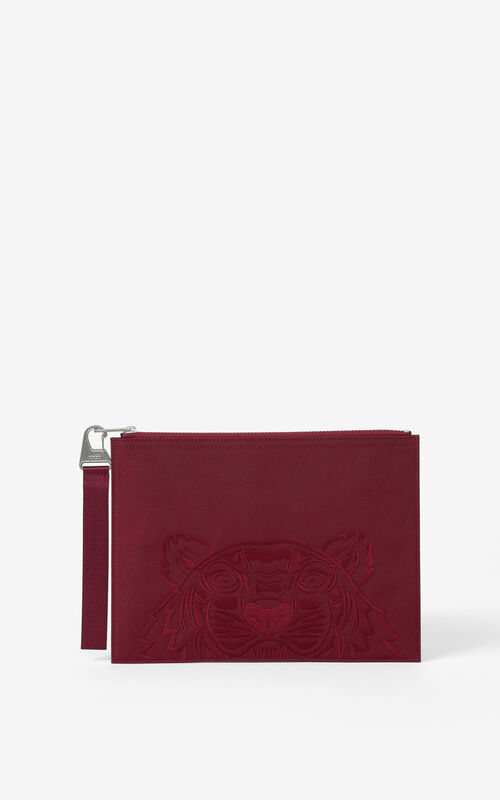 MAGENTA Large canvas Kampus Tiger pouch for unisex KENZO