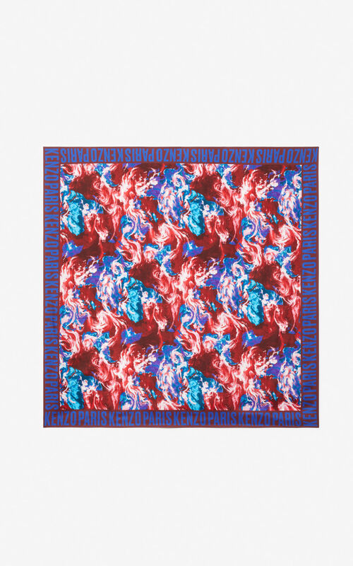 MEDIUM RED 'KENZO World' silk square for unisex
