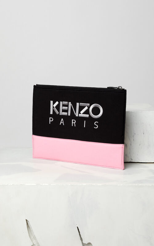 BLACK Bicolore Tiger clutch in neoprene for unisex KENZO