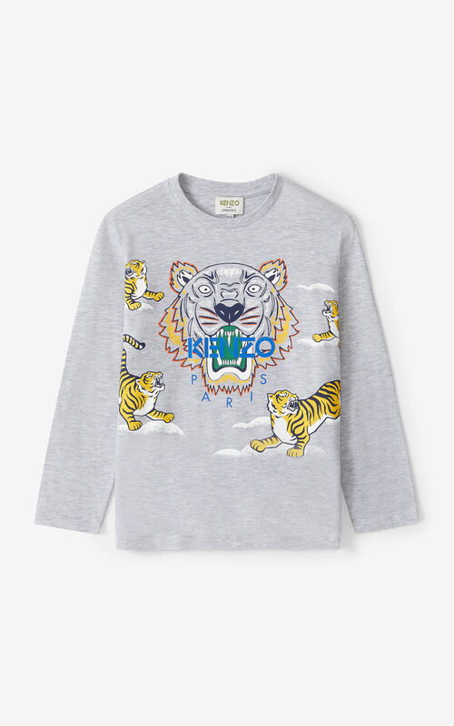 PEARL GREY Tiger long-sleeved T-shirt for men KENZO
