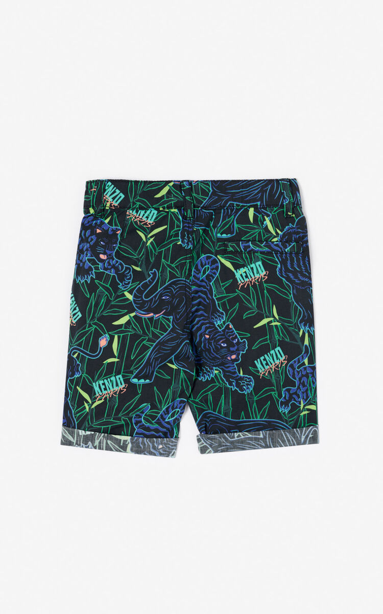 BLACK 'Disco Jungle' shorts with turn-ups for men KENZO