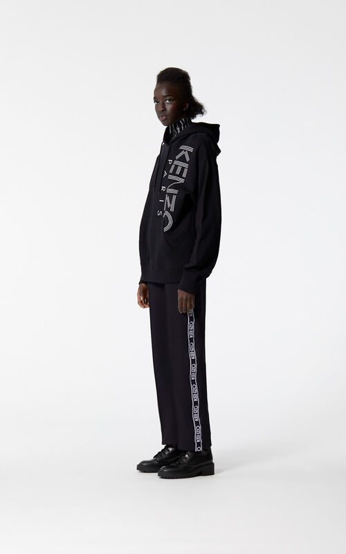 BLACK Hooded sweatshirt with KENZO logo for women