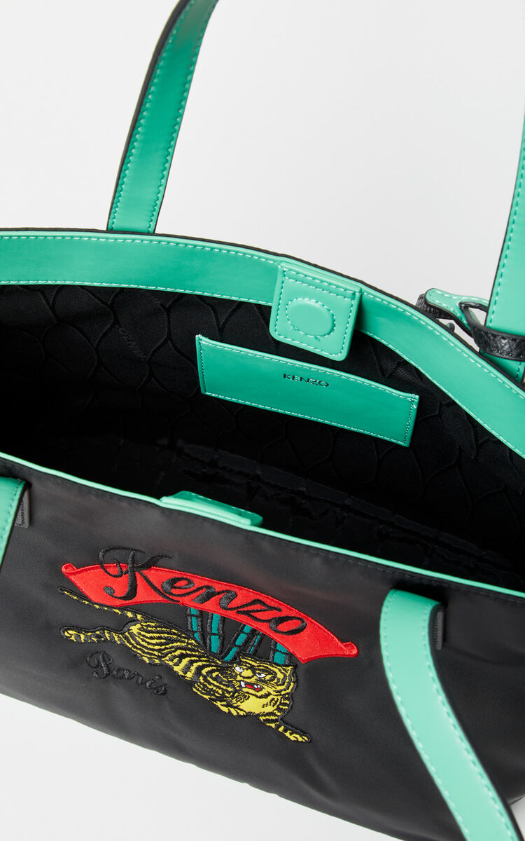 BLACK Canvas tote with 'Jumping Tiger' embroidery for unisex KENZO