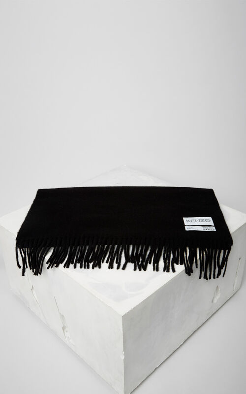 BLACK KENZO Label wool Scarf for women