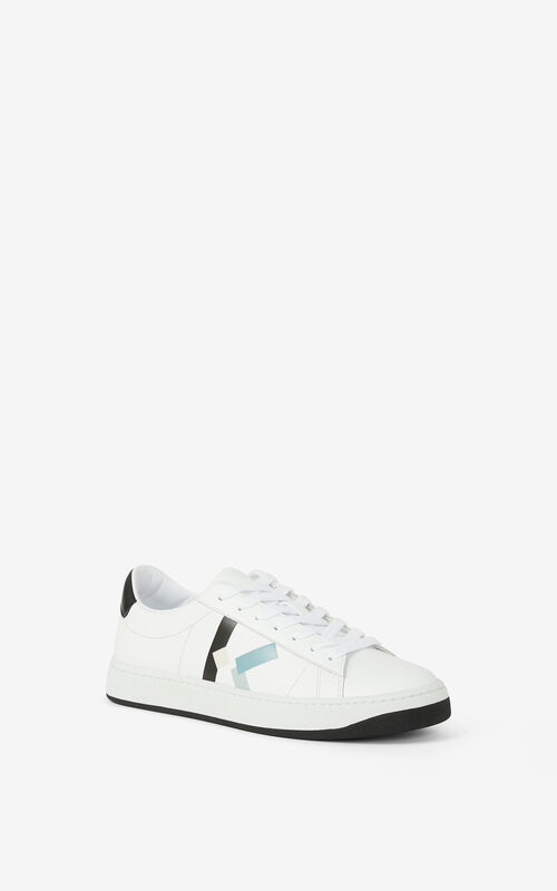 GLACIER KENZO Kourt K Logo leather sneakers for men