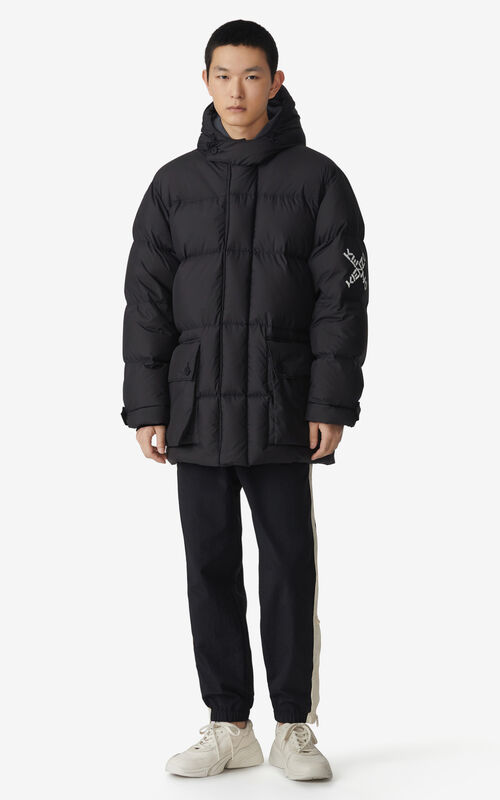 BLACK KENZO Sport 'Little X' long parka for men