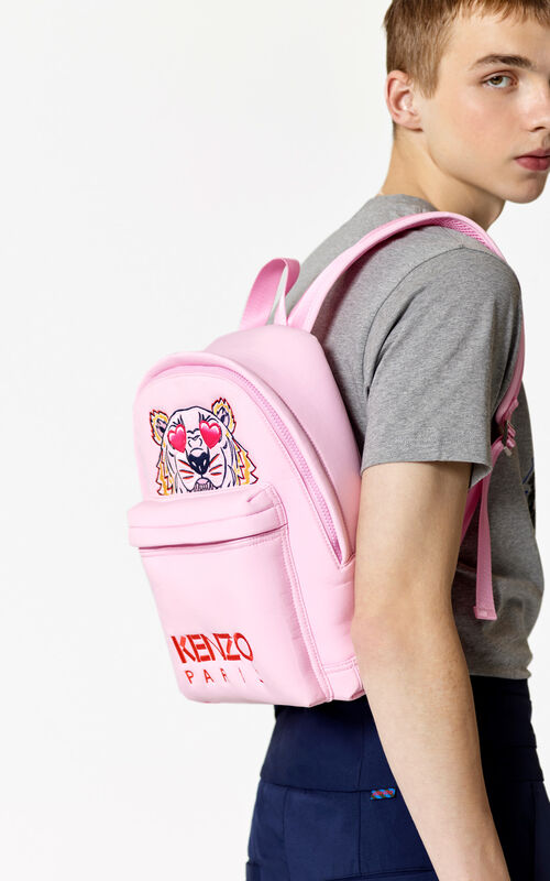 FLAMINGO PINK 'Valentine's Day Capsule' medium neoprene Tiger backpack for men KENZO