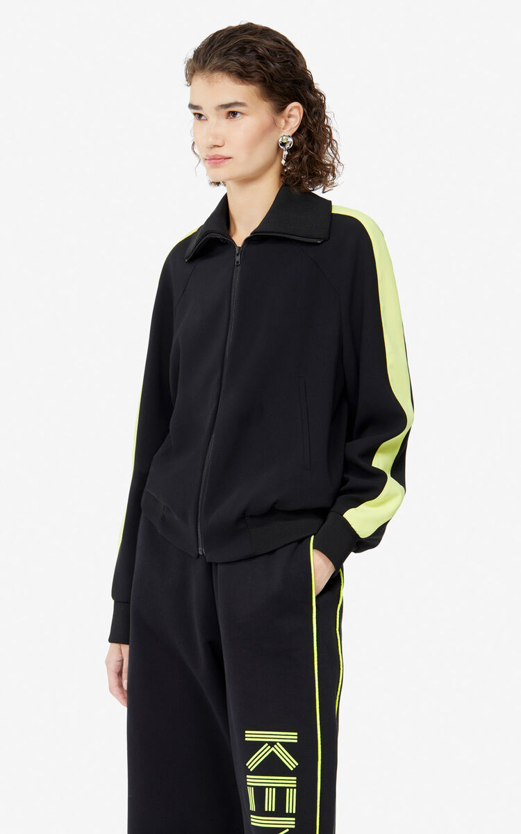 BLACK 'Bamboo Tiger' crepe bomber jacket for women KENZO