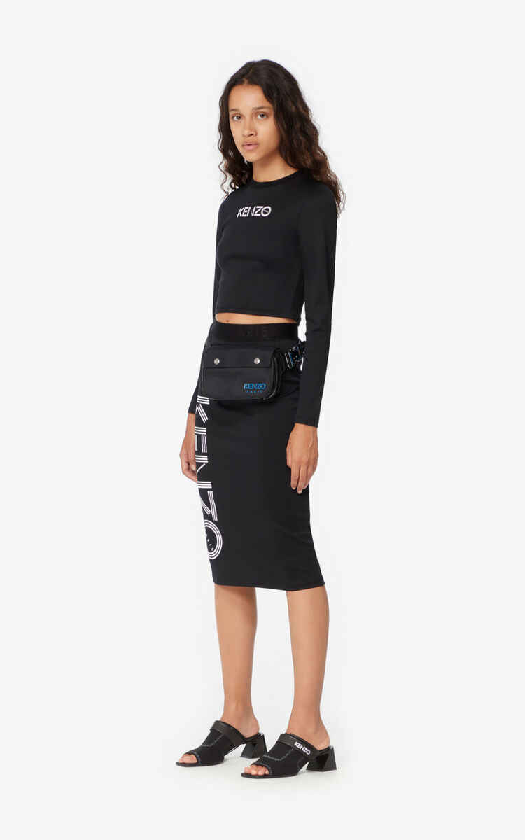 BLACK KENZO Logo midi skirt for women