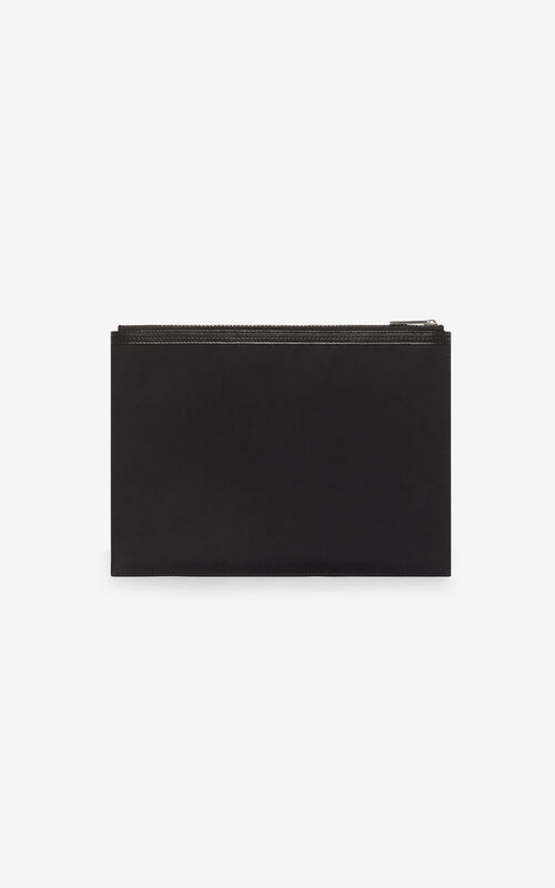 BLACK KENZO Logo A4 clutch for unisex