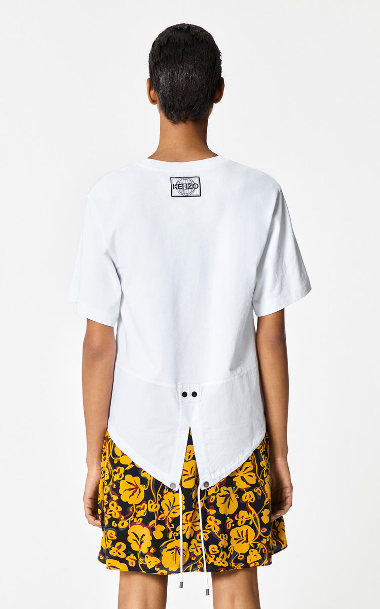 WHITE Asymmetrical 'KENZO World' t-shirt for women