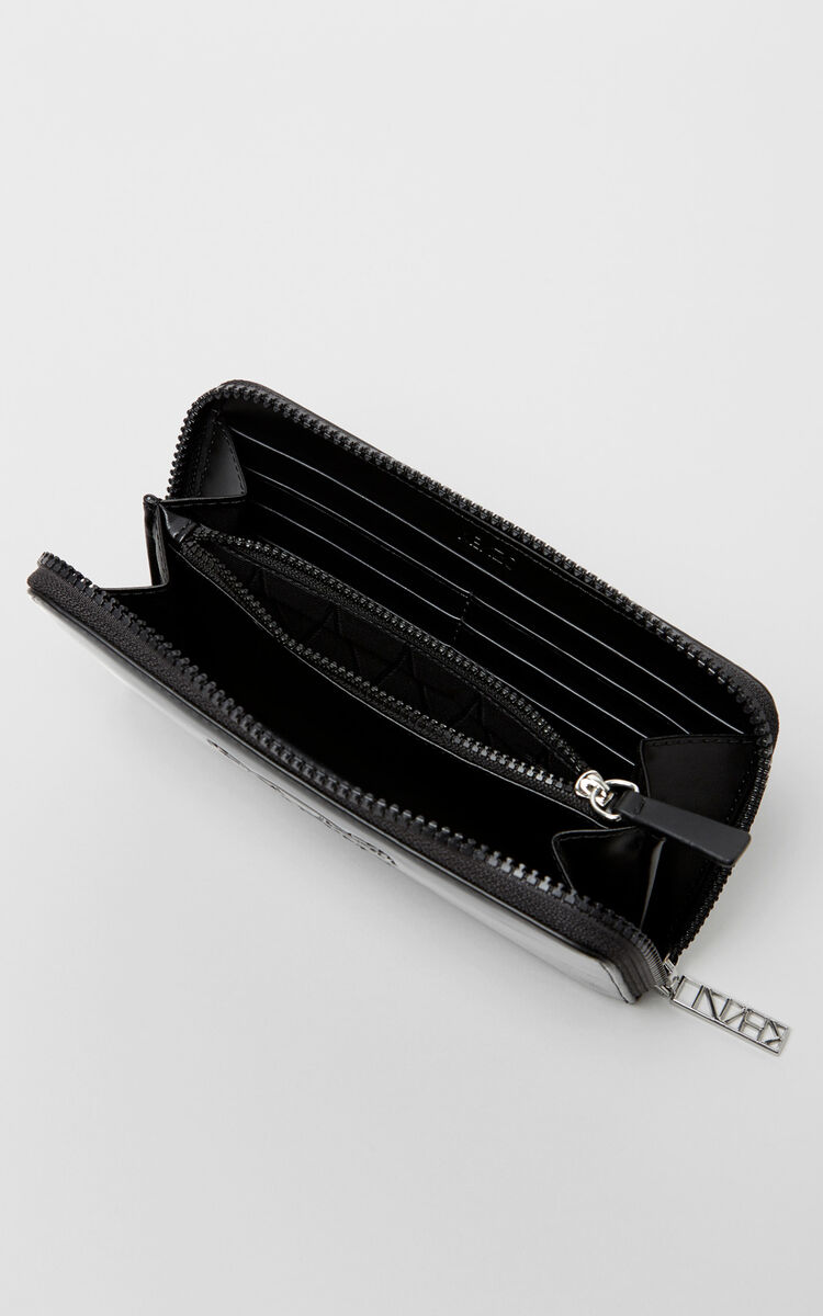 BLACK Patent Tiger wallet for unisex KENZO