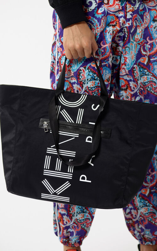 BLACK KENZO Logo tote bag for men