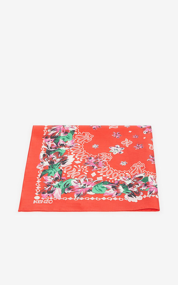 MEDIUM RED Floral bandana scarf for unisex KENZO