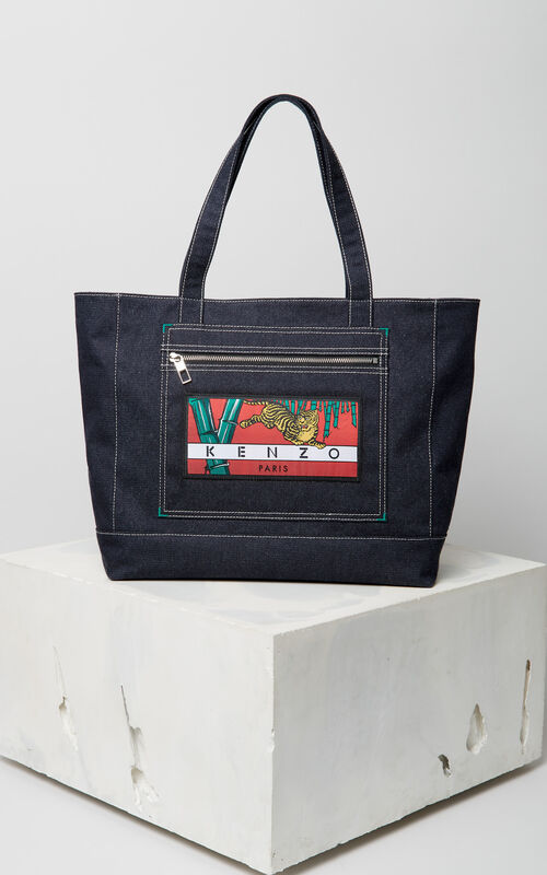 NAVY BLUE Denim 'Bamboo Tiger' Tote for unisex KENZO