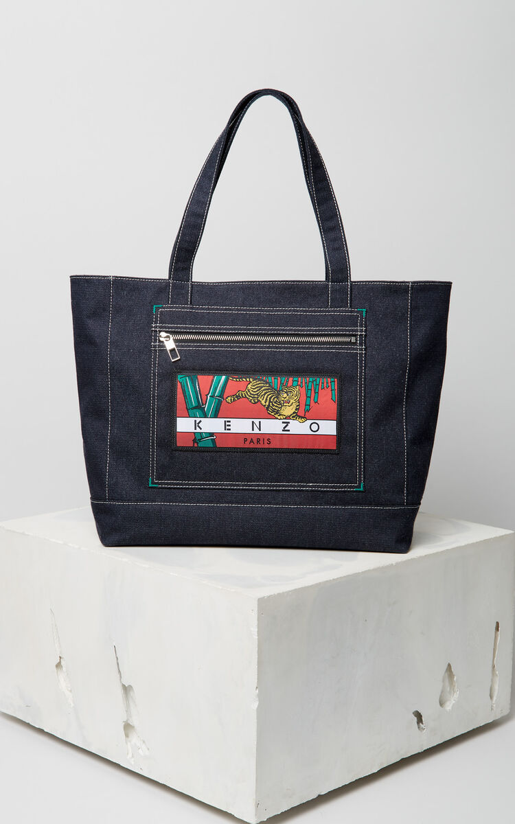 NAVY BLUE Denim 'Bamboo Tiger' Tote for women KENZO