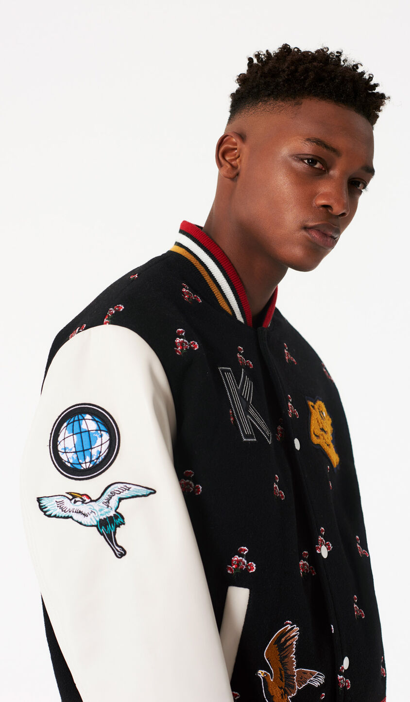 BLACK 'Wild Flowers' Embroidered Varsity Jacket for men KENZO