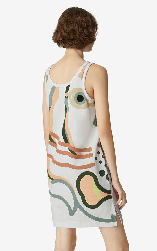WHITE K-Tiger oversized dress for women KENZO
