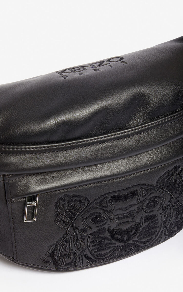 BLACK Leather 'Kampus' Tiger belt bag for unisex KENZO