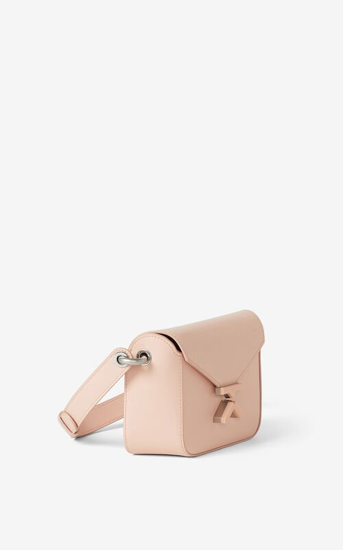 FADED PINK KENZO K small leather crossbody bag for women