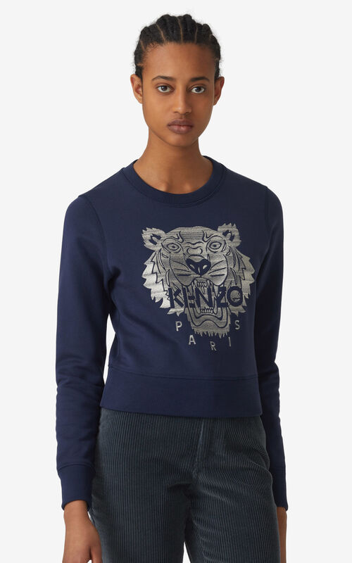 NAVY BLUE Embroidered Tiger sweatshirt for women KENZO