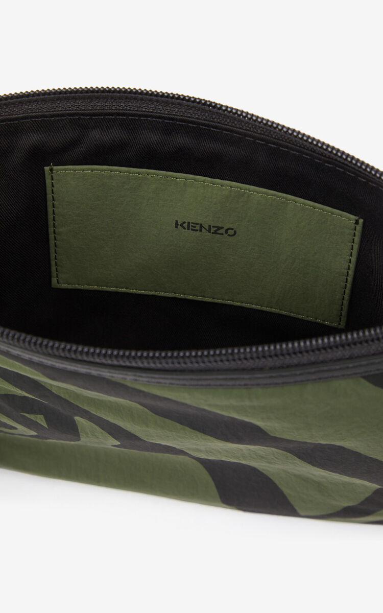 DARK KHAKI K-Tiger crossbody bag for unisex KENZO