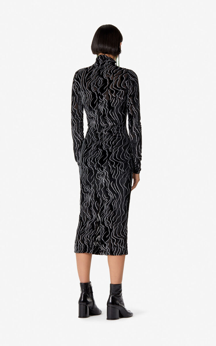 BLACK Long glittery dress for women KENZO