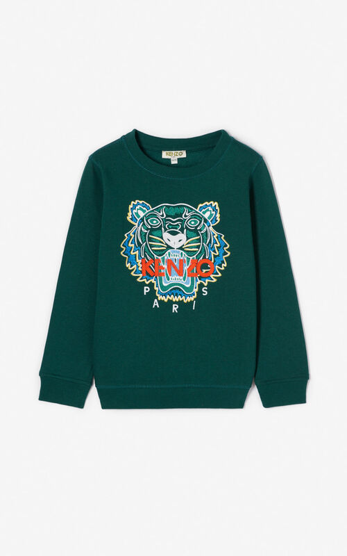 BOTTLE GREEN Tiger sweatshirt for unisex KENZO