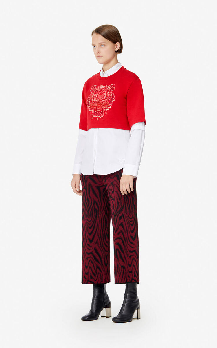 MEDIUM RED Cropped Tiger sweatshirt for women KENZO