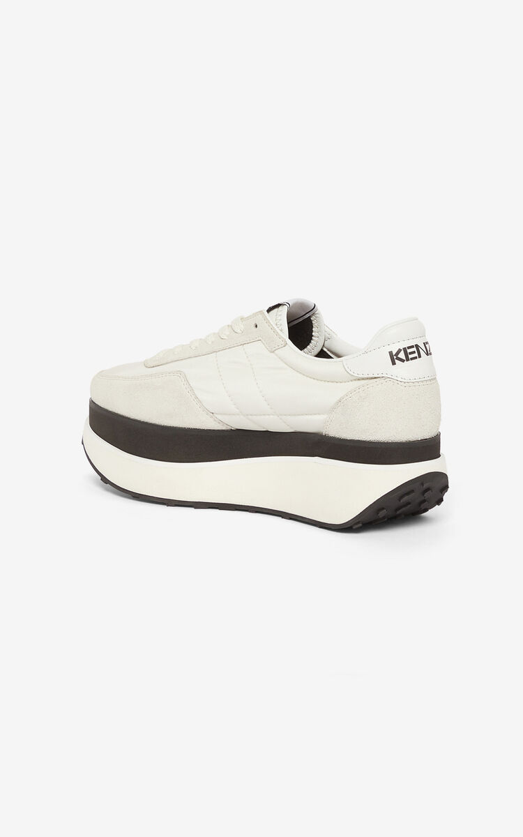 WHITE KENZO MOVE platform sneakers for unisex