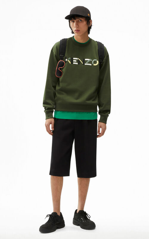 DARK KHAKI KENZO Logo oversized multicoloured sweatshirt for men